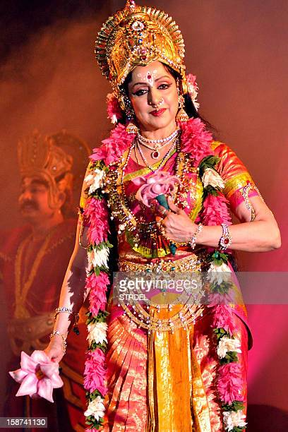 Indian Bollywood actress and Bharatanatyam dancer Hema Malini performs during a tribute to her mother Jaya Chakravarthy Jaya Smriti in Mumbai on...