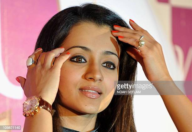 Indian Bollywood actress and brand ambassador for Vivel Trisha Krishnan attends a press conference in Hyderabad on March 7 2011 Krishnan participated...