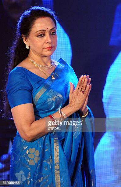 Indian Bollywood actress and politician Hema Malini looks on during the 'Ravindra Jain Academy Awards' ceremony in Mumbai on late February 28 2016...