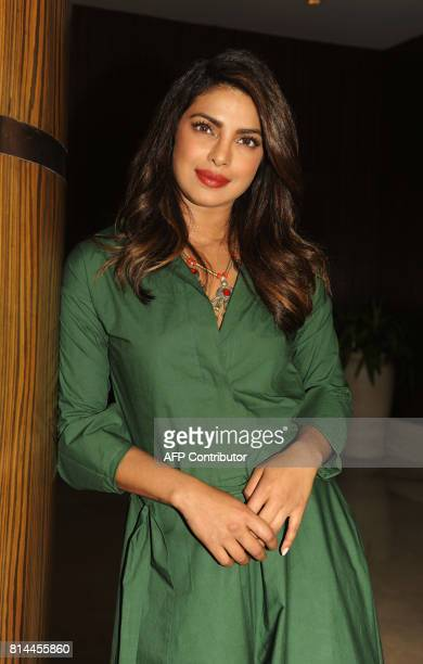 Indian Bollywood actress and producer Priyanka Chopra attends the press conference of her upcoming Marathi film 'Kaay Re Rascalaa' in Mumbai on July...