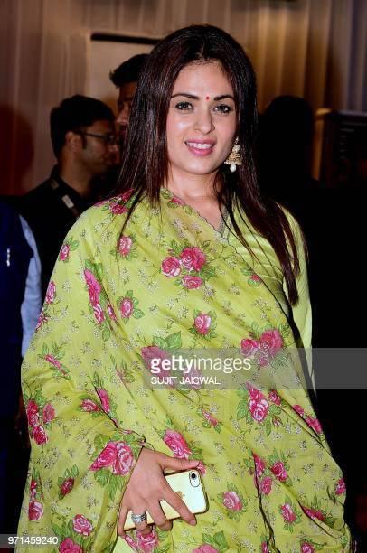 Indian Bollywood actress Anjana Sukhani attends the politician Baba Siddiques Annual Iftar party in Mumbai on June 10 2018