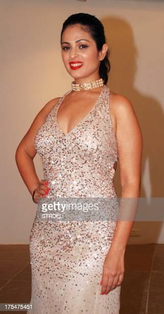 Indian Bollywood actress Anjana Sukhani poses as she attends the Amanaya Art and Sagar Samir International Jewellery Fashion Show in Mumbai late...