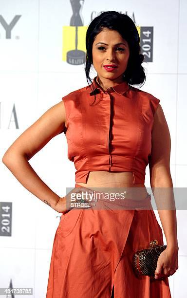 Indian Bollywood actress Anjana Sukhani poses for a photograph during the Grazia Young Fashion Awards 2014 ceremony in Mumbai on late April 13 2014...