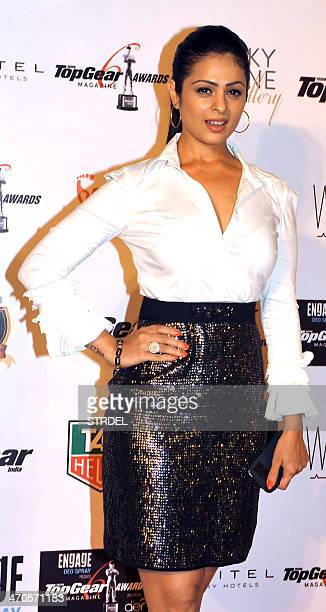 Indian Bollywood actress Anjana Sukhani poses for a photograph while attending the 'BBC TopGear Magazine Awards 2013' ceremony in Mumbai on late...