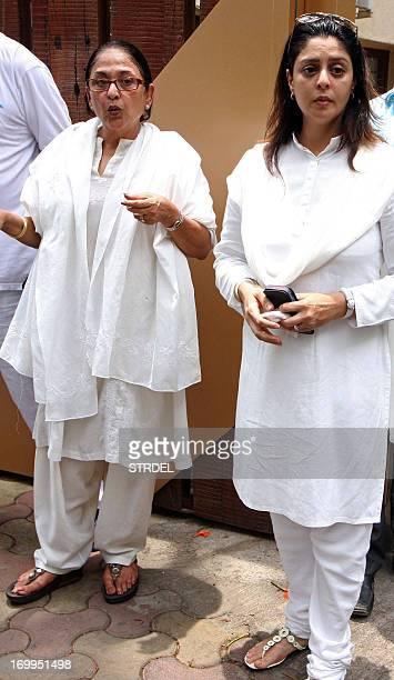 Indian Bollywood actress Anju Mahendru and Nagma attend the funeral of Indian Bollywood actress Jiah Khan in Mumbai on June 5 2013 Khan allegedly...