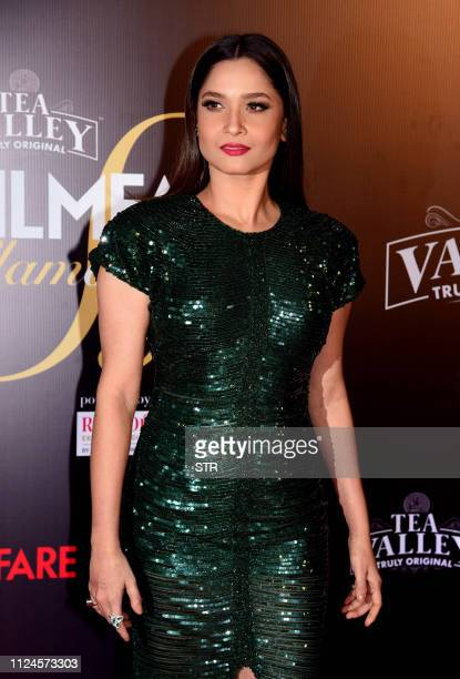 Indian Bollywood actress Ankita Lokhande attends the Filmfare Glamour and Style Awards ceremony in Mumbai on February 12 2019