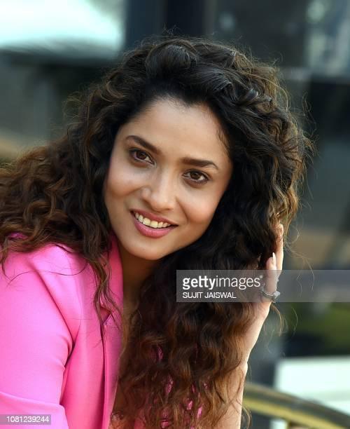 Indian Bollywood actress Ankita Lokhande poses during the promotion of the upcoming Hindi biographical film based on the life of Rani Laxmibai...