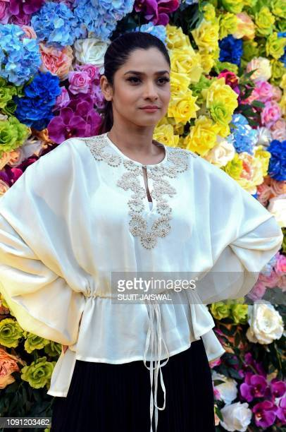 Indian Bollywood actress Ankita Lokhande poses for photographs as she attends the Lakmé Fashion Week Summer Resort 2019 in Mumbai on January 30 2019