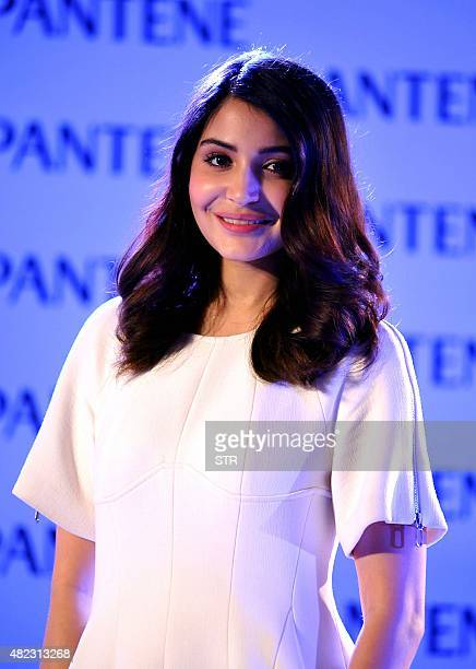Indian Bollywood actress Anushka Sharma appears as brand ambassador for Pantene's Bianca Hartkopf range in Mumbai late on July 29 2015 AFP PHOTO