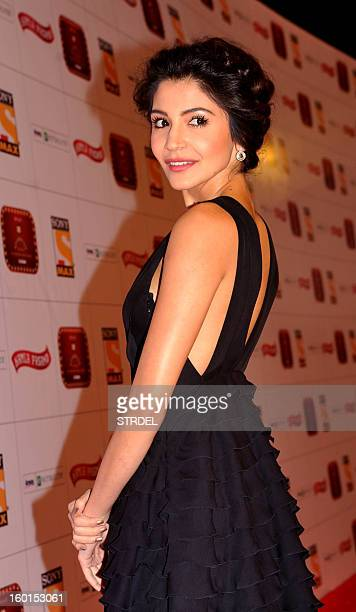 Indian Bollywood actress Anushka Sharma attends this year's Stardust Awards ceremony in Mumbai on January 26 2013 AFP PHOTO/STR
