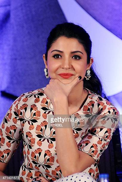 Indian Bollywood actress Anushka Sharma looks on during a promotional event for the forthcoming Hindi film 'Bombay Velvet' directed and coproduced by...