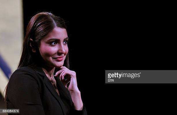 Indian Bollywood actress Anushka Sharma looks on during a promotional event for the forthcoming Hindi film 'Sultan' directed by Ali Abbas Zafar in...