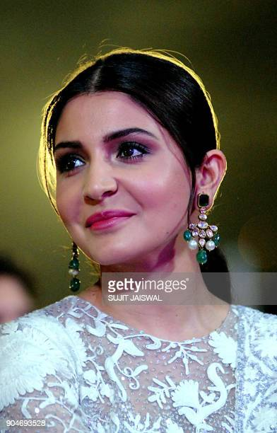 Indian Bollywood actress Anushka Sharma looks on during the 'Umang Mumbai Police Show 2018' in Mumbai on late January 13 2018 / AFP PHOTO / Sujit...