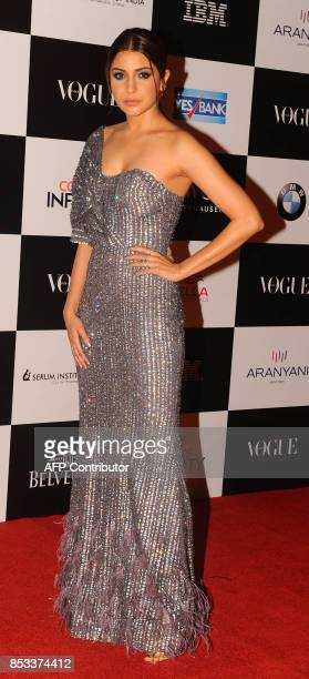 Indian Bollywood actress Anushka Sharma poses for a photo during the 10th edition of the 'Vogue Women of the Year Awards' event in Mumbai on...
