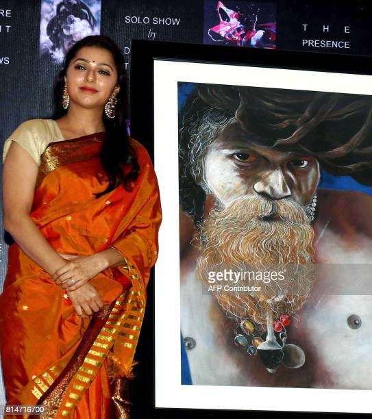 Indian Bollywood actress Bhumika Chawla attends the inauguration of art exhibition 'Specter Spirit and Shadows' artist by Bharat Thakur in Mumbai on...