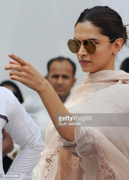 Indian Bollywood actress Deepika Padukone attends the funeral of actress Sridevi Kapoor in Mumbai on February 28 2018 Thousands of heartbroken fans...