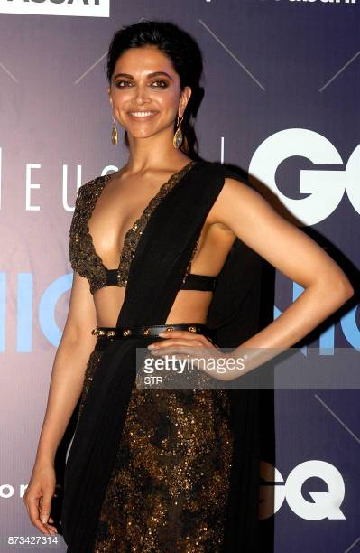 Indian Bollywood actress Deepika Padukone attends the Van Heusen GQ Fashion Nights 2017 in Mumbai on November 12 2017 / AFP PHOTO / STR