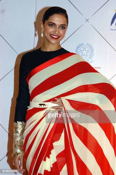 Indian Bollywood actress Deepika Padukone attends the Volare Awards in Mumbai on February 9 2018 / AFP PHOTO /