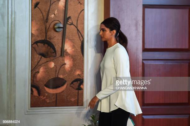 Indian Bollywood actress Deepika Padukone founder of the Live Love Laugh Foundation attends the unveiling event for a report on the public perception...