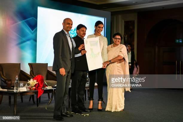 Indian Bollywood actress Deepika Padukone founder of the Live Love Laugh Foundation is joined by foundation trustee Shyam Bhat trustee board chair...