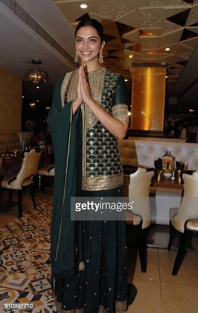 Indian Bollywood actress Deepika Padukone gestures during a promotional event of the Hindi film 'Padmavati' in Mumbai on January 27 2018 / AFP PHOTO /