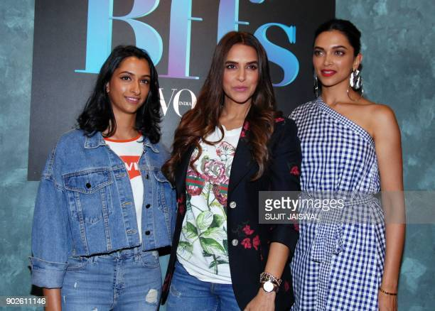 Indian Bollywood actress Deepika Padukone her sister Anisha Padukone and actress Neha Dhupia pose for a picture at the Colors Infinity TV Serial...
