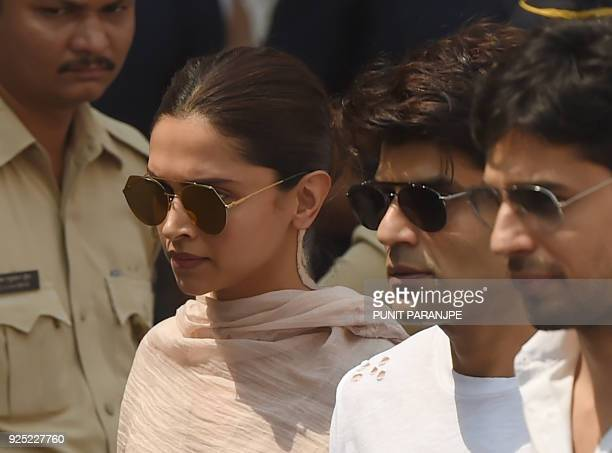 Indian Bollywood actress Deepika Padukone leaves after paying her last respects to the late actress Sridevi Kapoor ahead of her funeral in Mumbai on...