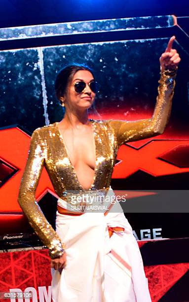 Indian Bollywood actress Deepika Padukone poses as she attends the premiere of Hollywood action thriller film xXx Return of Xander Cage starring Vin...