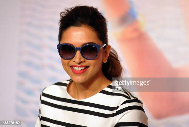 Indian Bollywood actress Deepika Padukone poses during the launch of a new eyewear collection in Mumbai on August 7 2015 AFP PHOTO