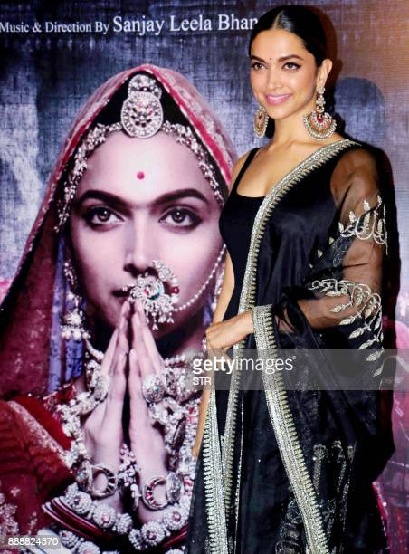 Indian Bollywood actress Deepika Padukone poses for a photograph during a promotional event for the forthcoming Hindi film 'Padmavati' directed by...