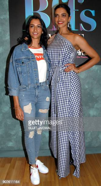 Indian Bollywood actress Deepika Padukone poses for a picture with her sister Anisha Padukone at the Colors Infinity TV Serial Vogue BFFs set in...