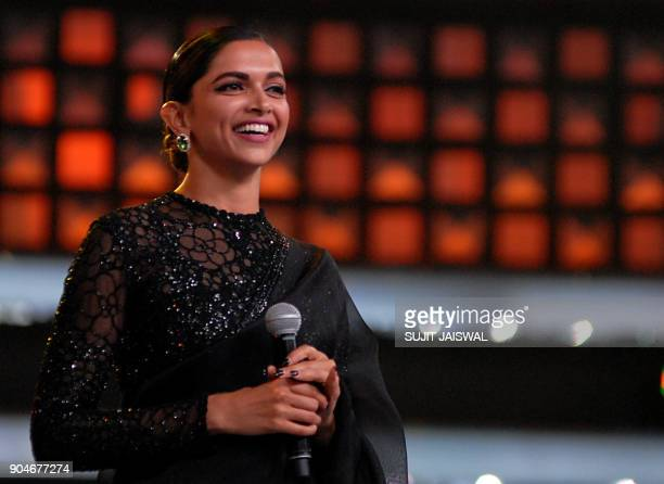 Indian Bollywood actress Deepika Padukone takes part in the'Umang Mumbai Police Show 2018' in Mumbai on late January 13 2018 / AFP PHOTO / Sujit...