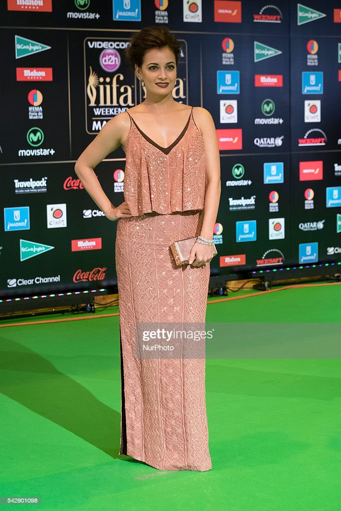 Indian Bollywood actress Dia Mirza poses on the green carpet as she arrives to the 17th edition of IIFA Awards (International Indian Film Academy Awards) in Madrid on June 24, 2016.