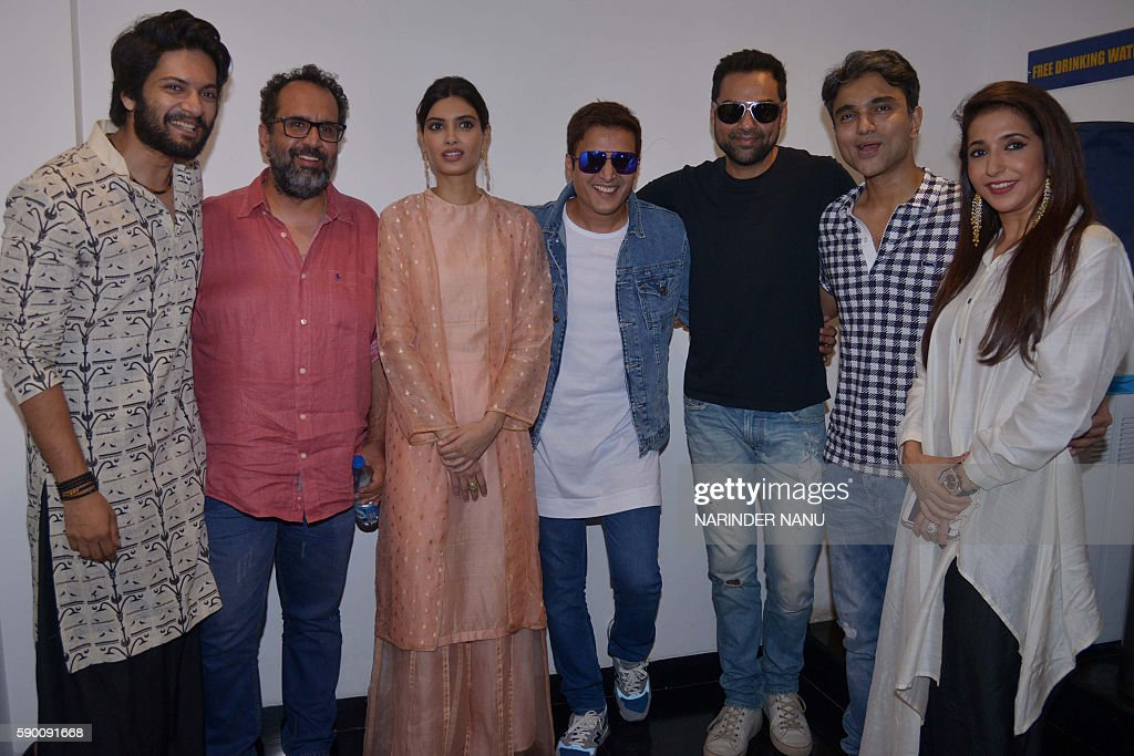 Indian Bollywood actress Diana Penty actors Ali Fazal Jimmy Shergill and Abhay Deol and producers Krishika Lulla and Aanand L Rai pose for a...