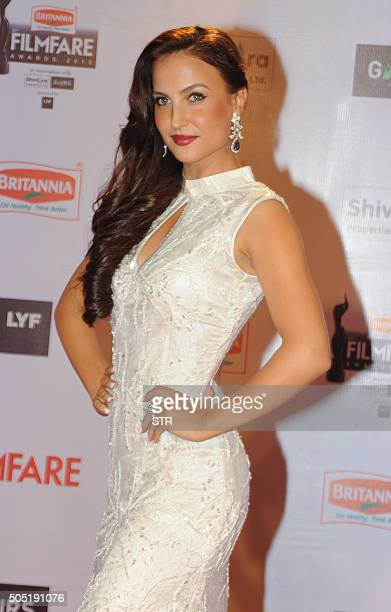 Indian Bollywood actress Elli Avram attends the '61st Filmfare Awards 2016' ceremony in Mumbai on January 15 2016 AFP PHOTO / AFP / STR