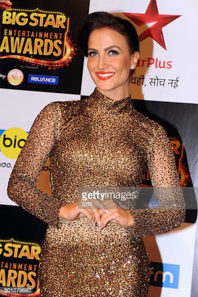 Indian Bollywood actress Elli Avram attends the BIG Star Entertainment Awards 2015 ceremony in Mumbai on December 13 2015 AFP PHOTO / AFP / STR