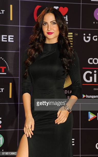 Indian Bollywood actress Elli Avram attends the Global Indian Music Academy awards ceremony in Mumbai on April 6 2016 / AFP /