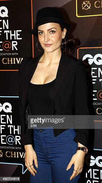Indian Bollywood actress Elli Avram attends the GO Men of the Year Awards in Mumbai on September 26 2015 AFP PHOTO
