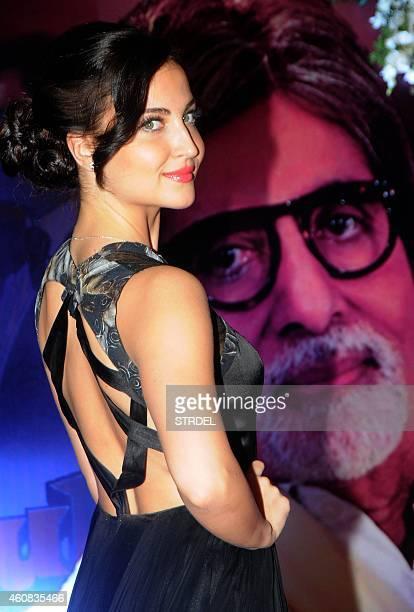 Indian Bollywood actress Elli Avram attends the second national 'Yash Chopra Memorial Awards' in Mumbai on December 25 2014 AFP PHOTO/STR