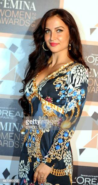 Indian Bollywood actress Elli Avram poses as she attends LOreal Paris Femina Women Awards 2015 ceremony in Mumbai late March 23 2015 AFP PHOTO/STR