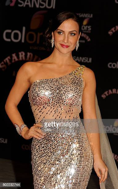 Indian Bollywood actress Elli Avram poses at the Stardust Awards 2015 ceremony in Mumbai on December 21 2015 AFP PHOTO / AFP / STR