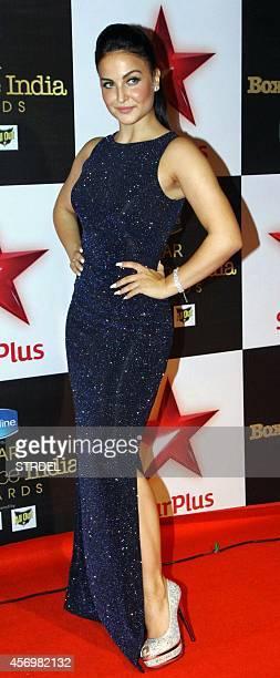 Indian Bollywood actress Elli Avram poses during the Star Box Office Awards in Mumbai on October 9 2014 AFP PHOTO/STR
