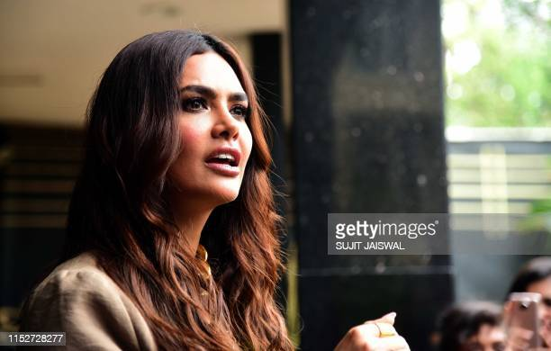 Indian Bollywood actress Esha Gupta looks on during the promotion of the upcoming action thriller Hindi film 'One Day Justice Delivered' in Mumbai on...