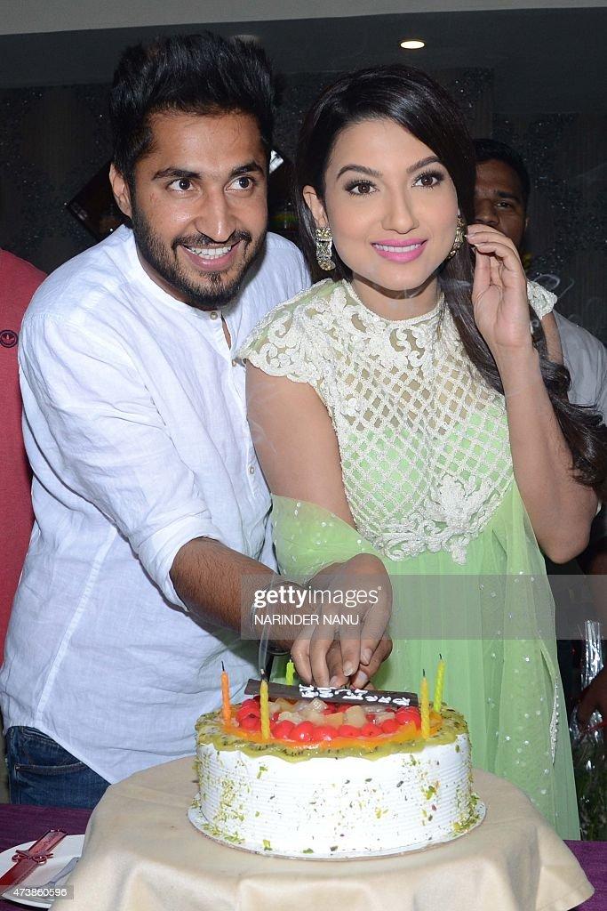 Indian Bollywood actress Gauhar Khan Punjabi singer and actor Jassi Gill pose during a promotional tour for the forthcoming Punjabi film `Oh Yaara...