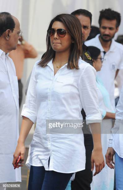 Indian Bollywood actress Geeta Basara attends the funeral of legendary late Bollywood actress Sridevi Kapoor in Mumbai on February 28 2018 Thousands...