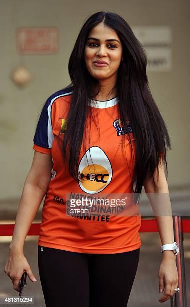 Indian Bollywood actress Genelia D'Souza arrives during the Celebrity Cricket League season five in Mumbai on January 10 2015 AFP PHOTO / STR