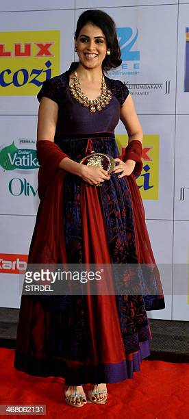 Indian Bollywood actress Genelia D'Souza attends the Zee Cine Awards ceremony in Mumbai on February 8 2014 AFP PHOTO/STR