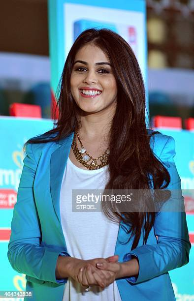 Indian Bollywood actress Genelia DSouza poses at a promotional event in Mumbai on February 24 2015 AFP PHOTO/STR