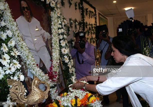 Indian Bollywood actress Hema Malini attends a prayer meet for the late composer and lyricist Ravindra Jain in Mumbai on October 14 2015 AFP PHOTO