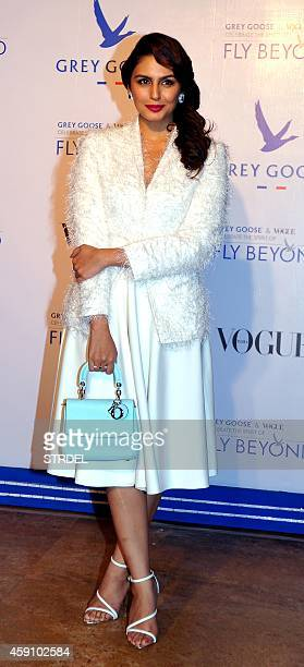 Indian Bollywood actress Huma Qureshi poses during the Grey Goose Fly Beyond Awards ceremony in Mumbai late November 16 2014 AFP PHOTO/STR